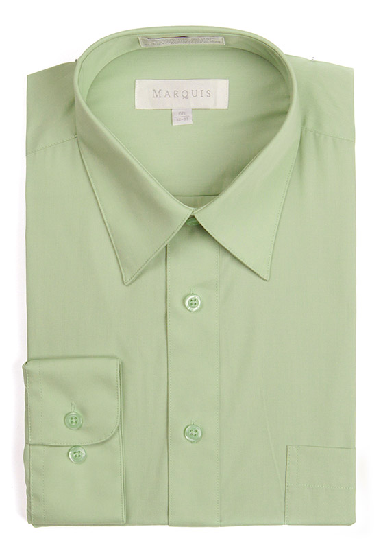 Marquis 009S Men/'s Cotton Blend Slim Fit Solid Button Down Dress Shirt Turquoise