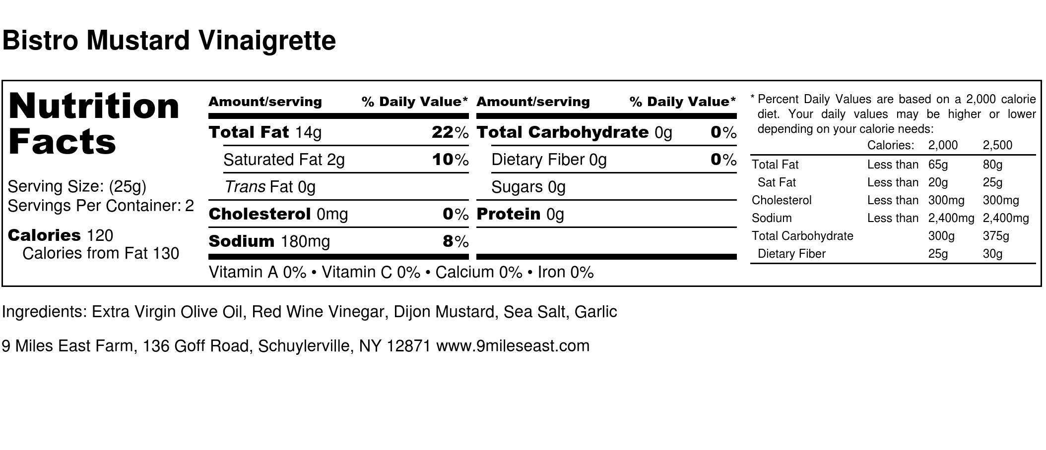 Bistro Mustard Vinaigrette - Nutrition Label.jpg
