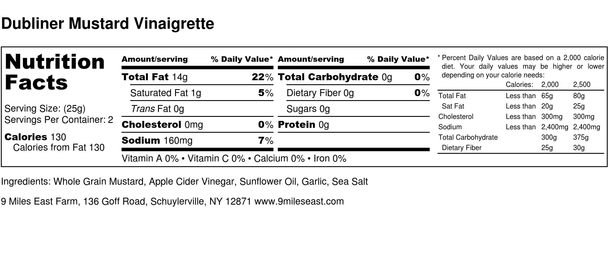 Dubliner Mustard Vinaigrette - Nutrition Label.jpg