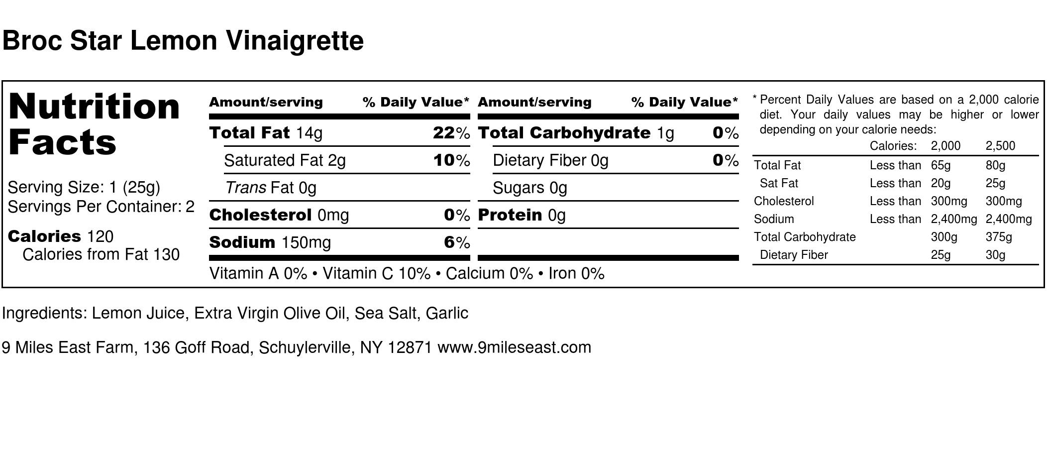 Broc Star Lemon Vinaigrette - Nutrition Label.jpg