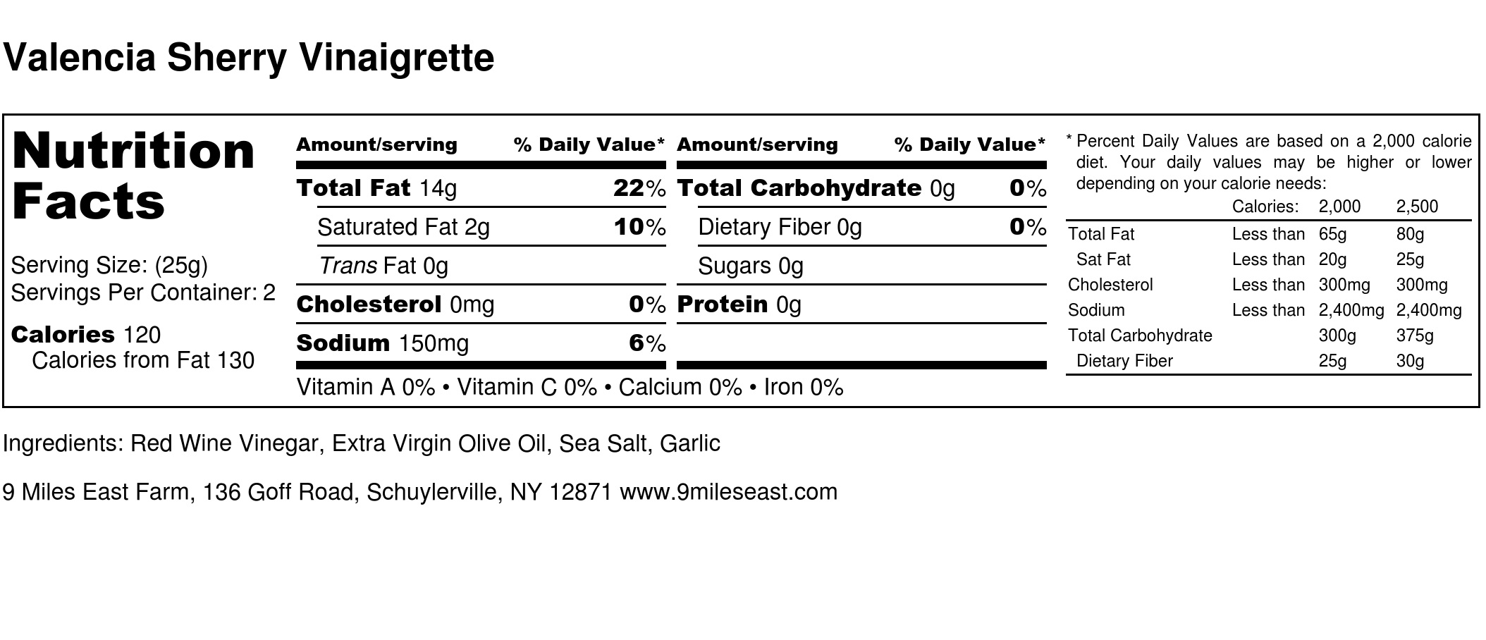 Valencia Sherry Vinaigrette - Nutrition Label.jpg