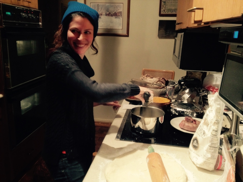 This is me making very non-vegan soul food.