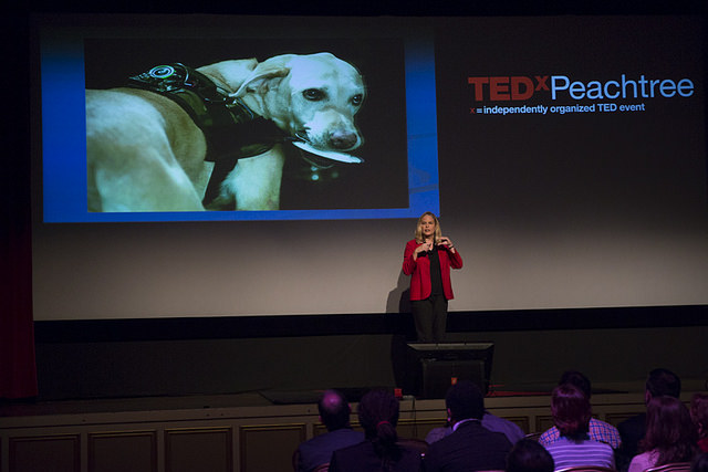 Dr. Melody Moore Jackson on stage at TEDxPeachtree talking about FIDO. Photo credit: TEDxPeachtree Team Flickr.
