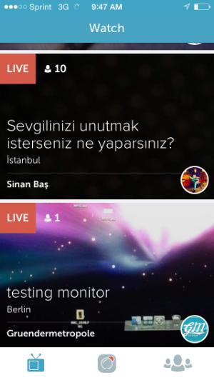 Periscope's home screen