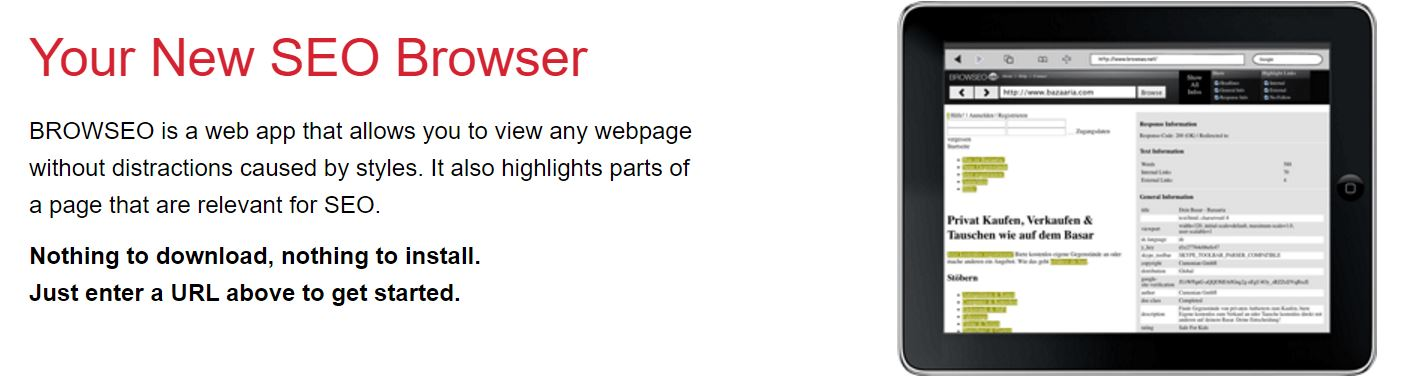 Attribution: Browseo website - Browseo is a web app that allows you to view any webpage to assist you in SEO optimization