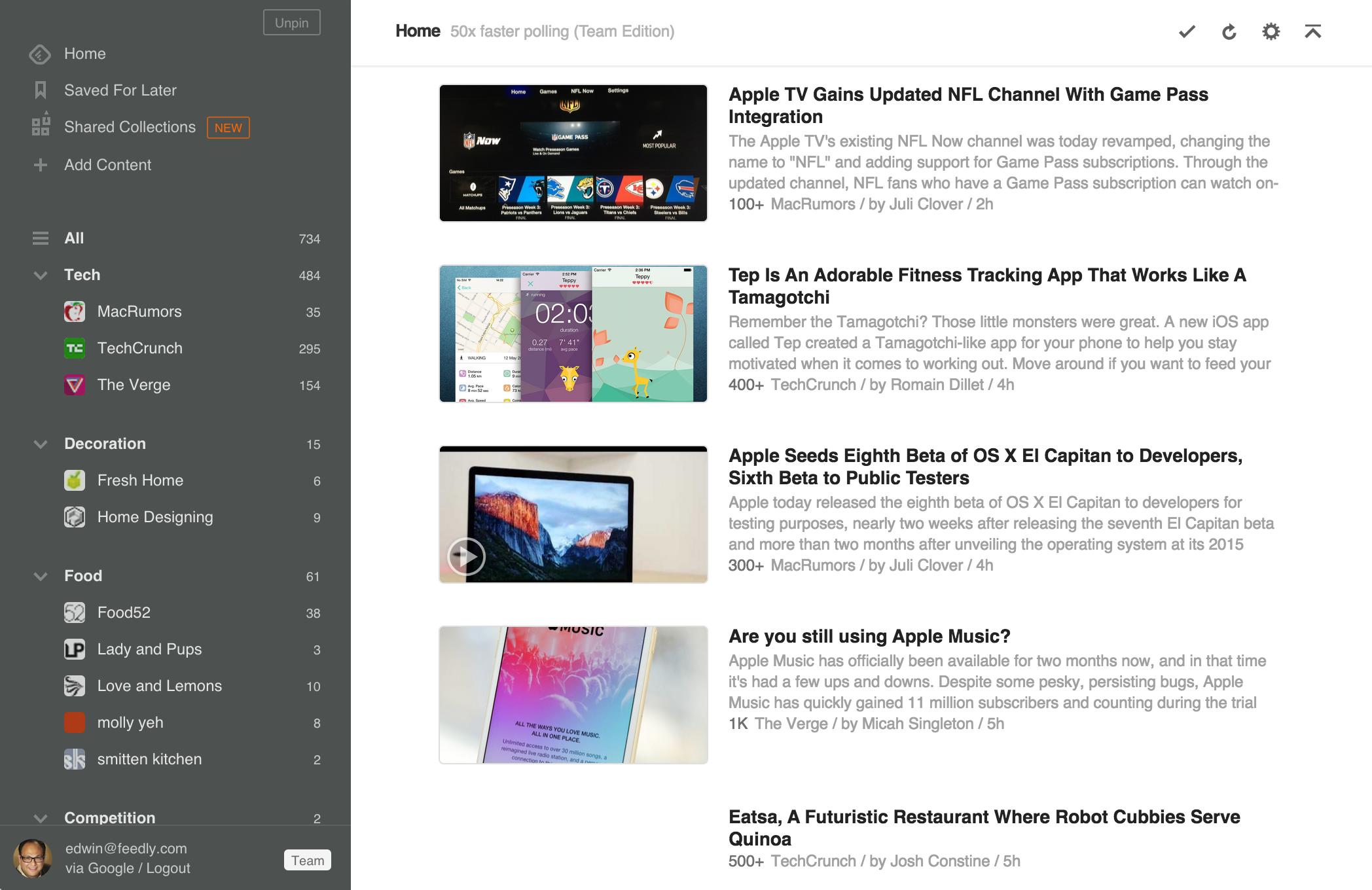 Feedly Desktop Interface