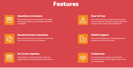 Features of BeLive that are user-friendly for consumers to broadcast and collaborate resources.
