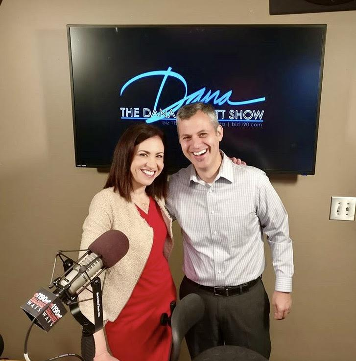 "Joe Koufman (right), Setup founder and CEO, with host Dana Barrett (left) of ""The Dana Barrett Show"" on Biz 1190"