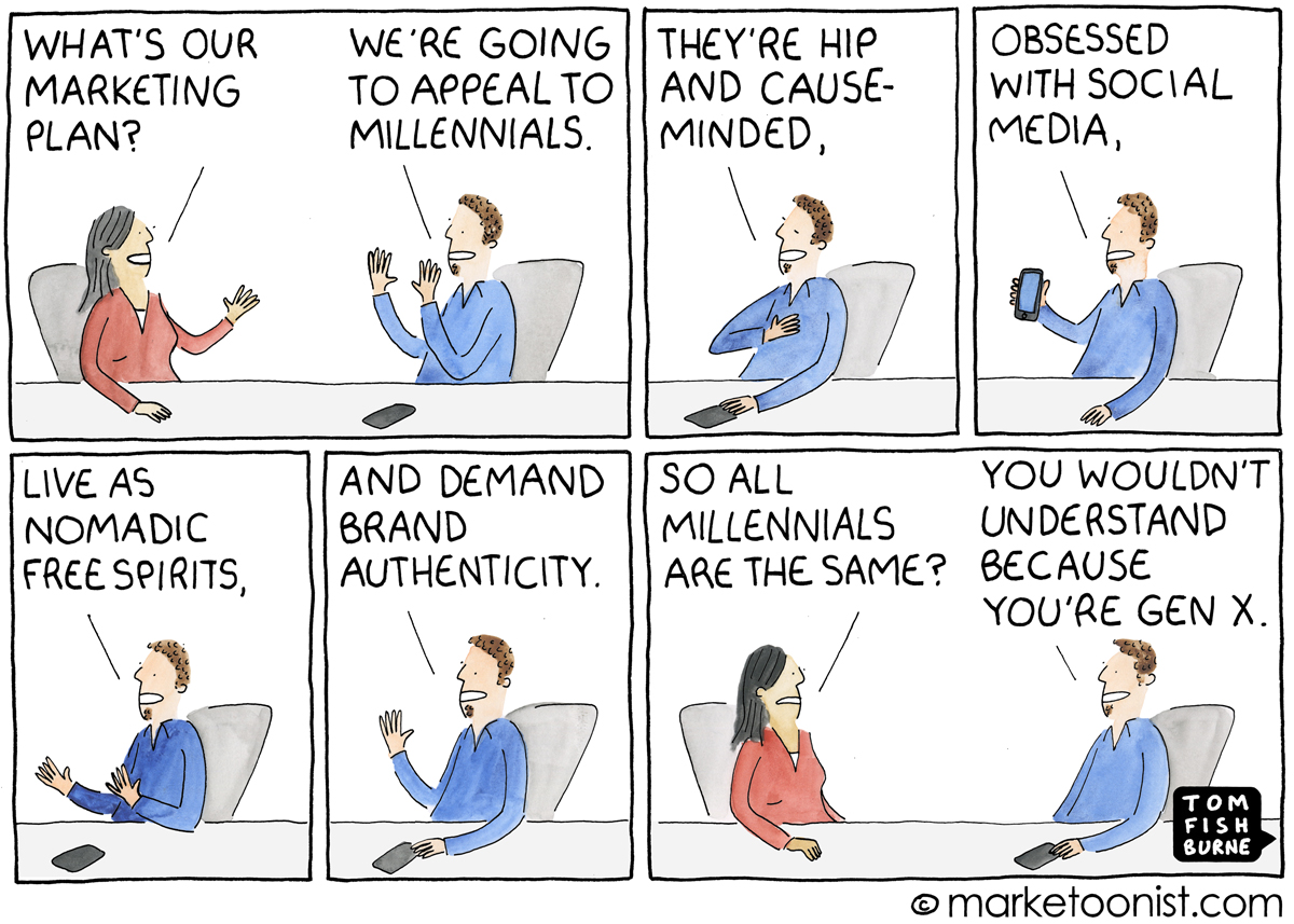 Tom Fishburne created this comic about marketing to Millennials.