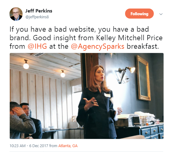 Jeff Perkins from Parkmobile tweeted the following during the breakfast!