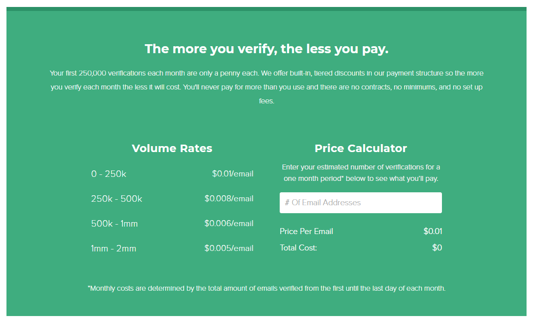 BriteVerify pricing options are one cent per email verification.