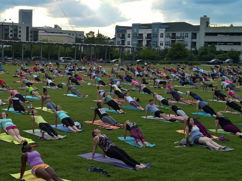 King of Pops hosts free yoga in the park next to the BeltLine.  Picture Credit - Atlanta Outdoor Club