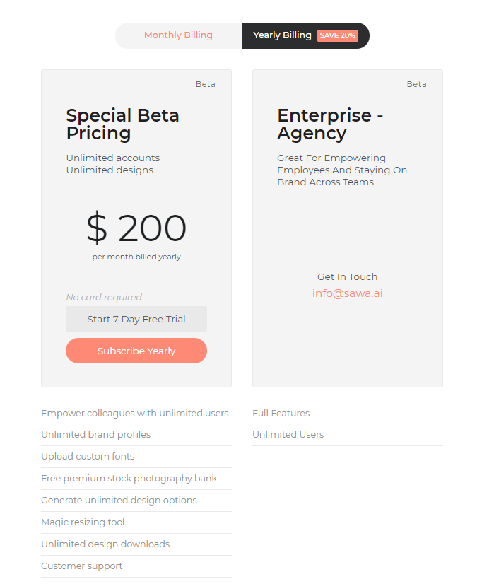 Sawa - the automated graphic design platform - offers multiple pricing options with different features for users.