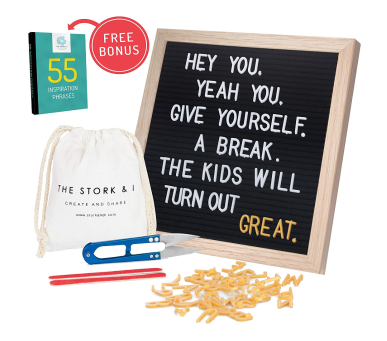 """Felt Letter Board With Stand and Wall Mount, 10"""" x 10"""" Changeable Message Board With Oak Frame, 540 White and Gold Letters, Numbers, Emojis and Symbols, Wooden Characters Signs Letterboard (Black)"""