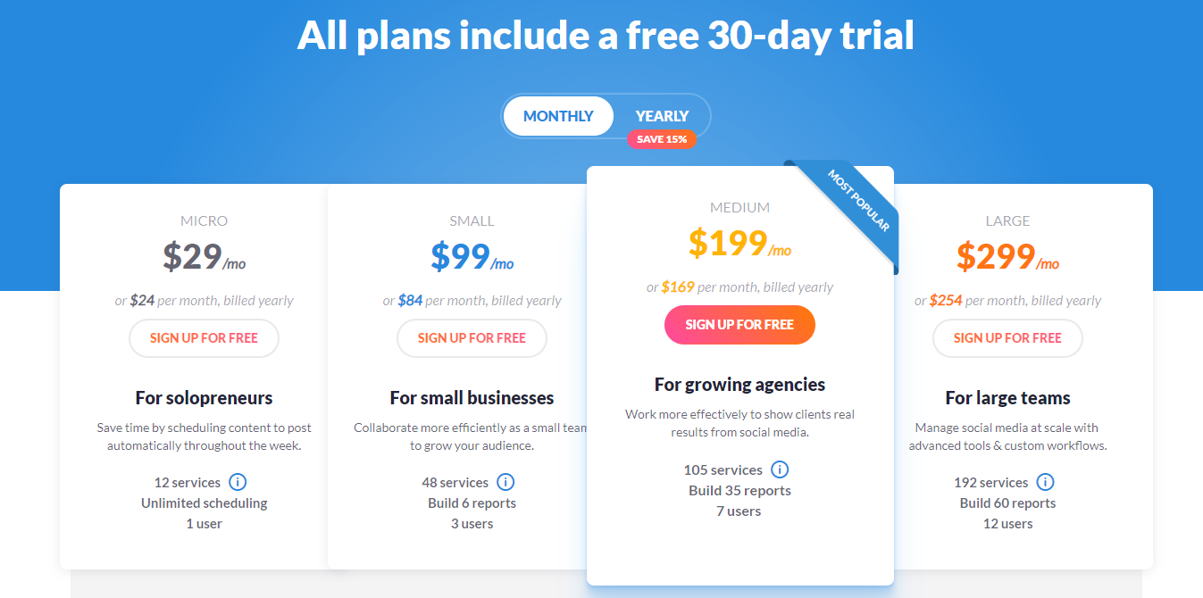 Sendible offers several pricing plans depending on the number of social media platforms the social media marketer is managing.