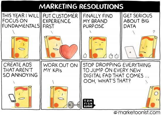 Tom Fishburne from Marketoonist illustrates marketers establishing resolutions during the new year.