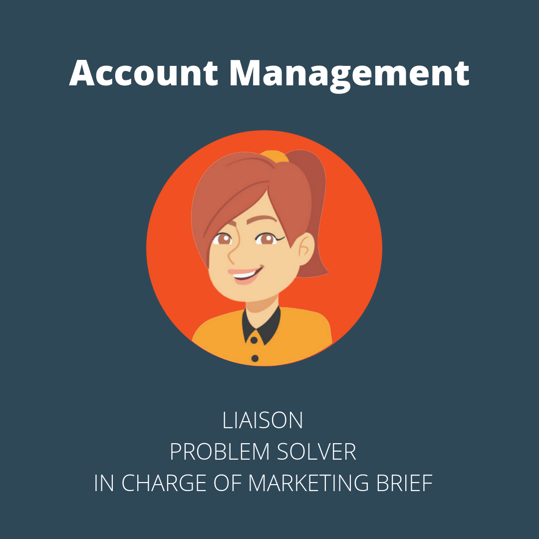 Account managers are the link between clients and marketing agencies. They decipher the client's ask and translate it to the marketing team to execute. They are in charge of the marketing brief.