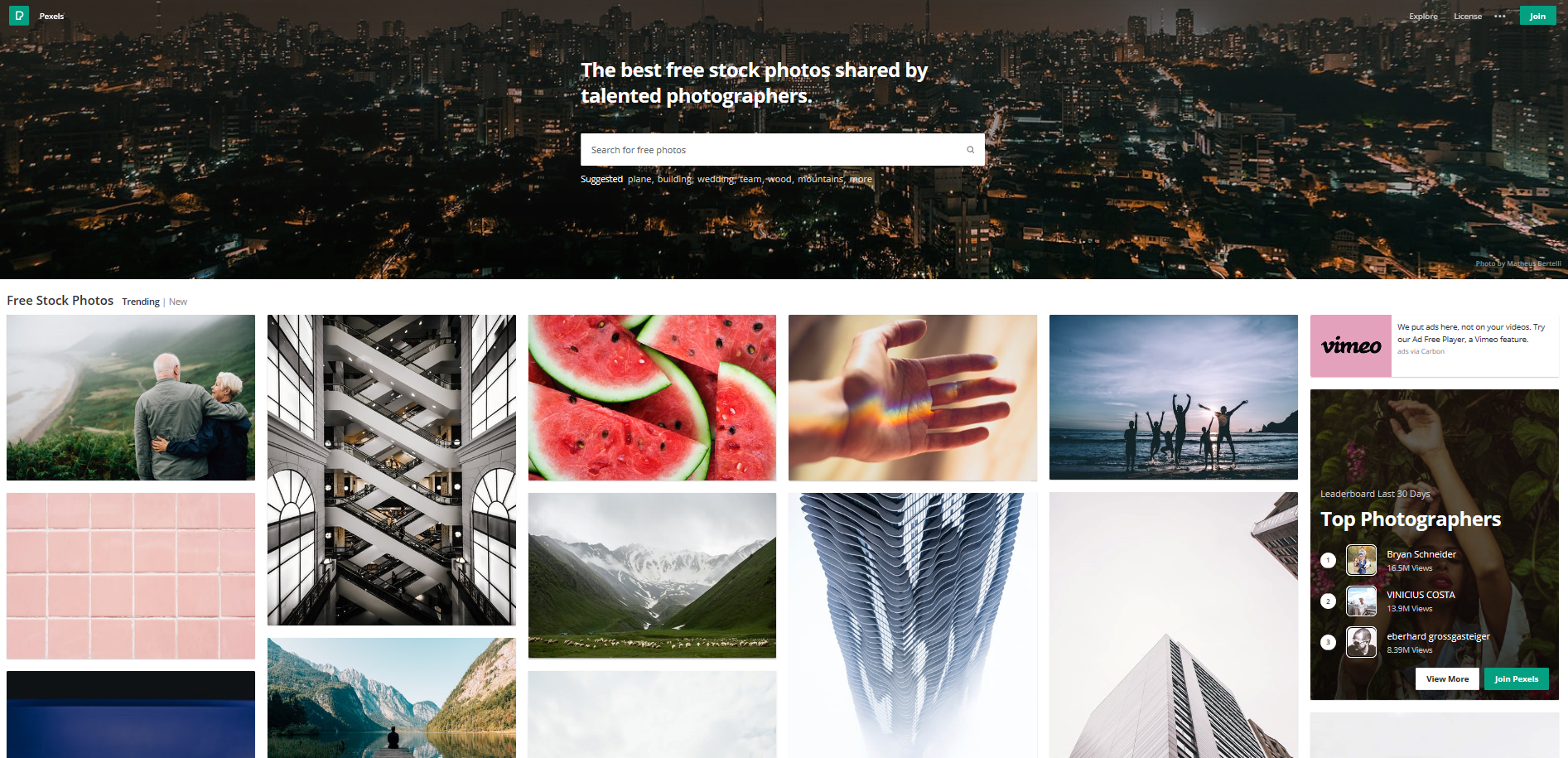 Pexels is a free stock image platform that lets users download high quality photos without attribution.
