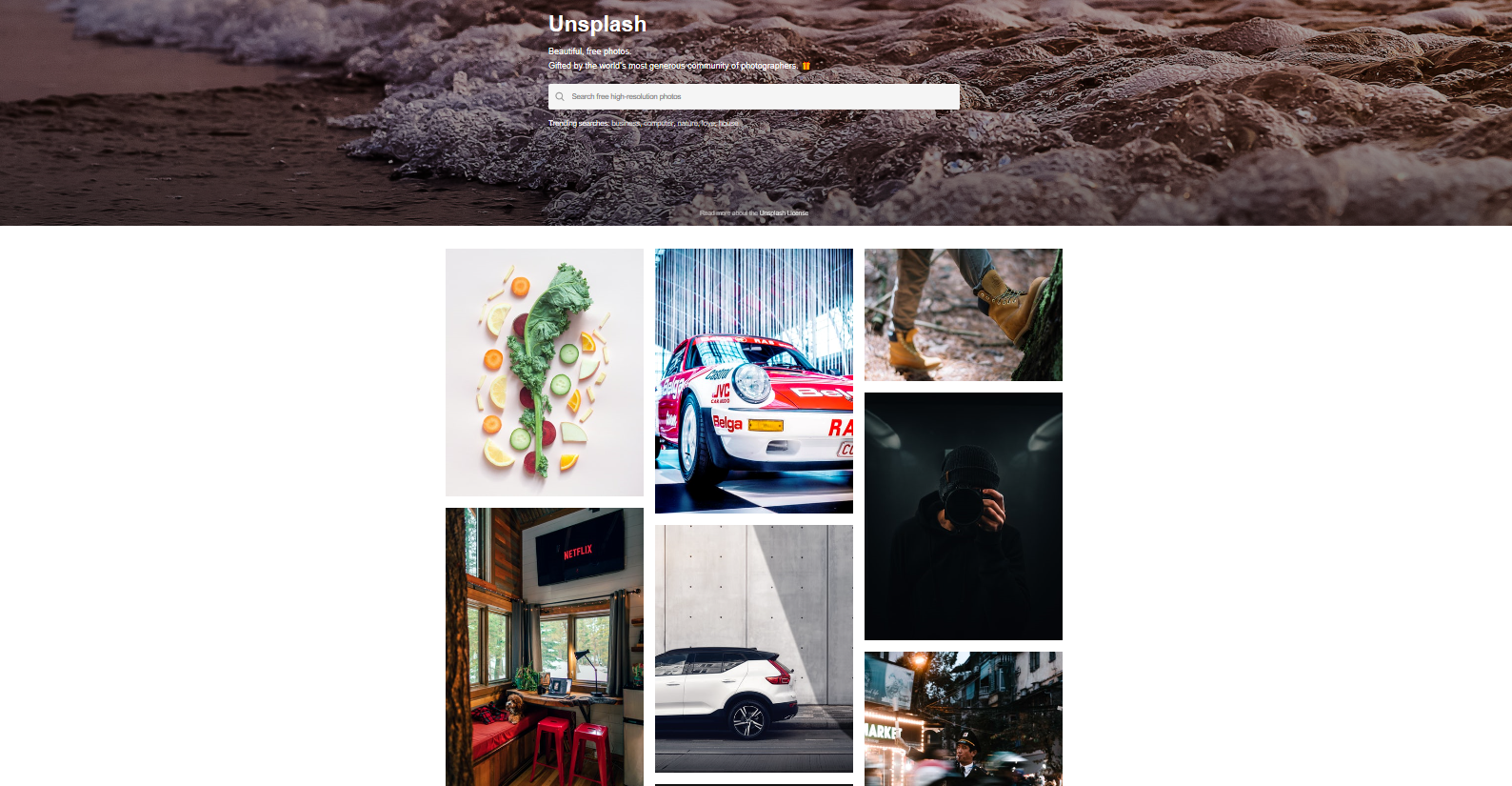 Unsplash is a free stock image resource for content and web designers.