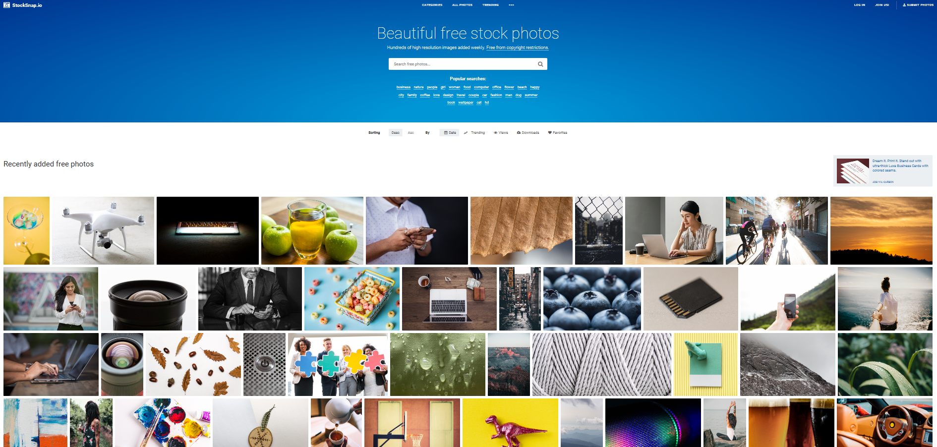 StockSnap.io is a free stock image resource for graphic, content, and web designers.