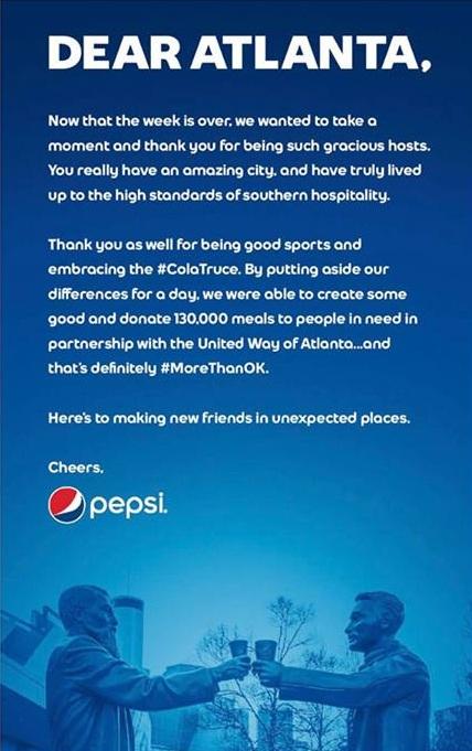 Pepsi thanked Atlanta for having them for the Super Bowl LIII big game.