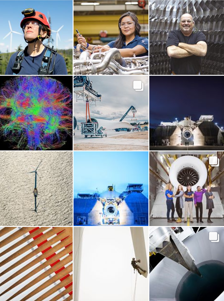 General Electric (GE) brings it's brand to life with a vibrant Instagram feed. This B2B brand personalizes it's products and story to engage customers.