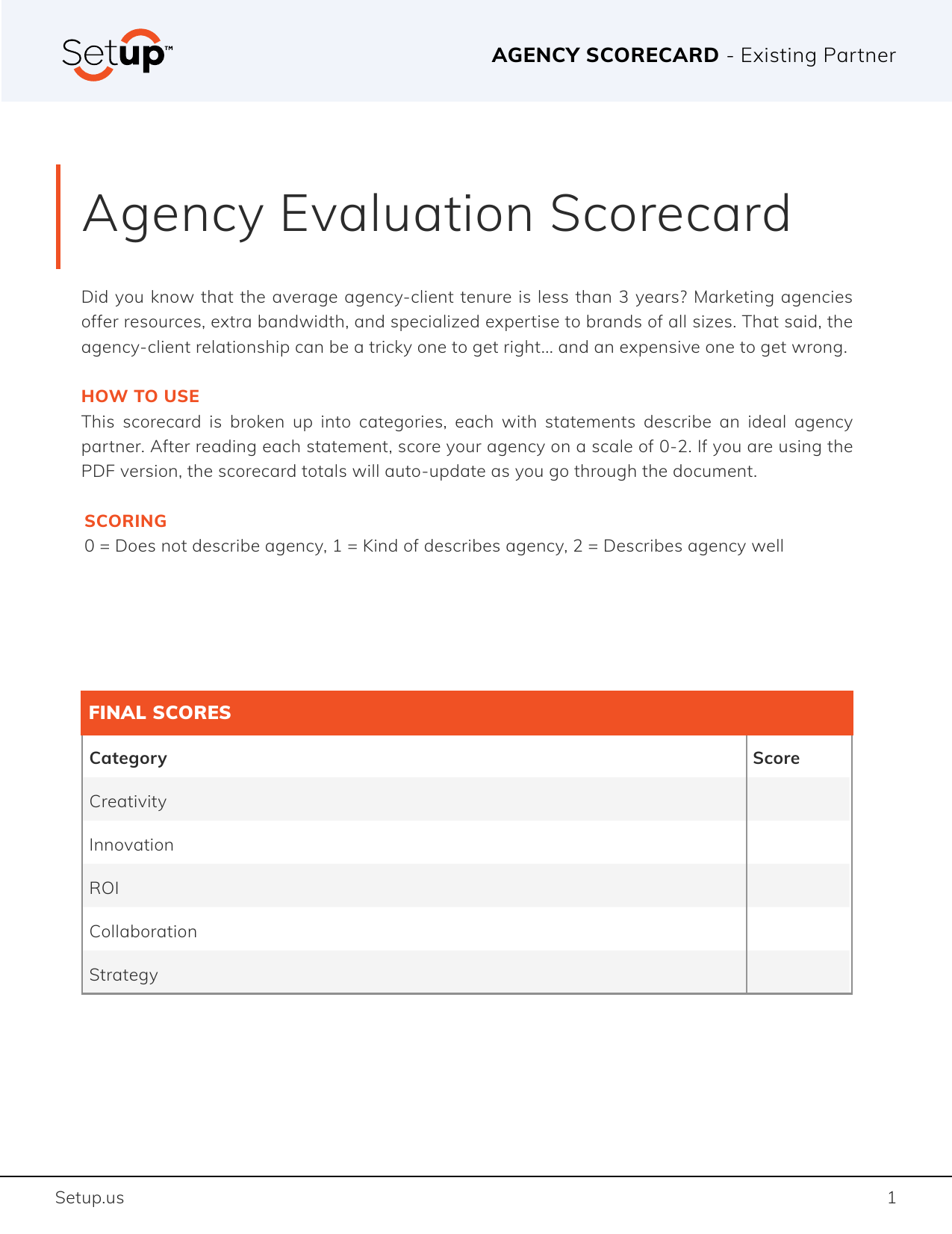 Evaluate your current agency roster with thie free, interactive agency evaluation scorecard.