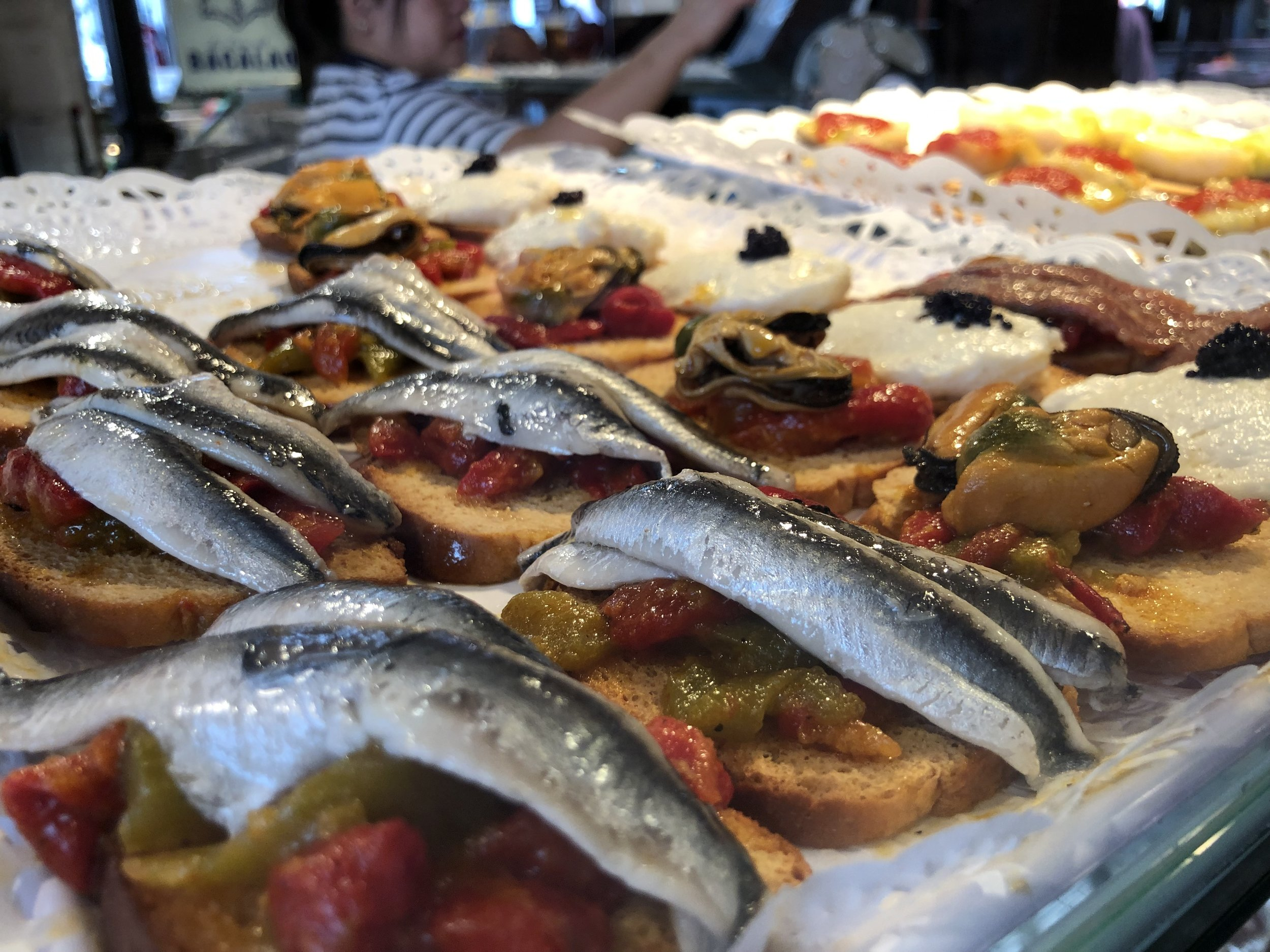 Some of the tapas available at Mercado de San Miguel.