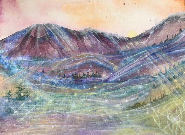 💚🔮🌈🏔 Paonia, CO #abstractlandscape #dreamlandscape #coloradoart #goldenpaints #stars #light #heart #love #dream @elsewherestudiospaonia