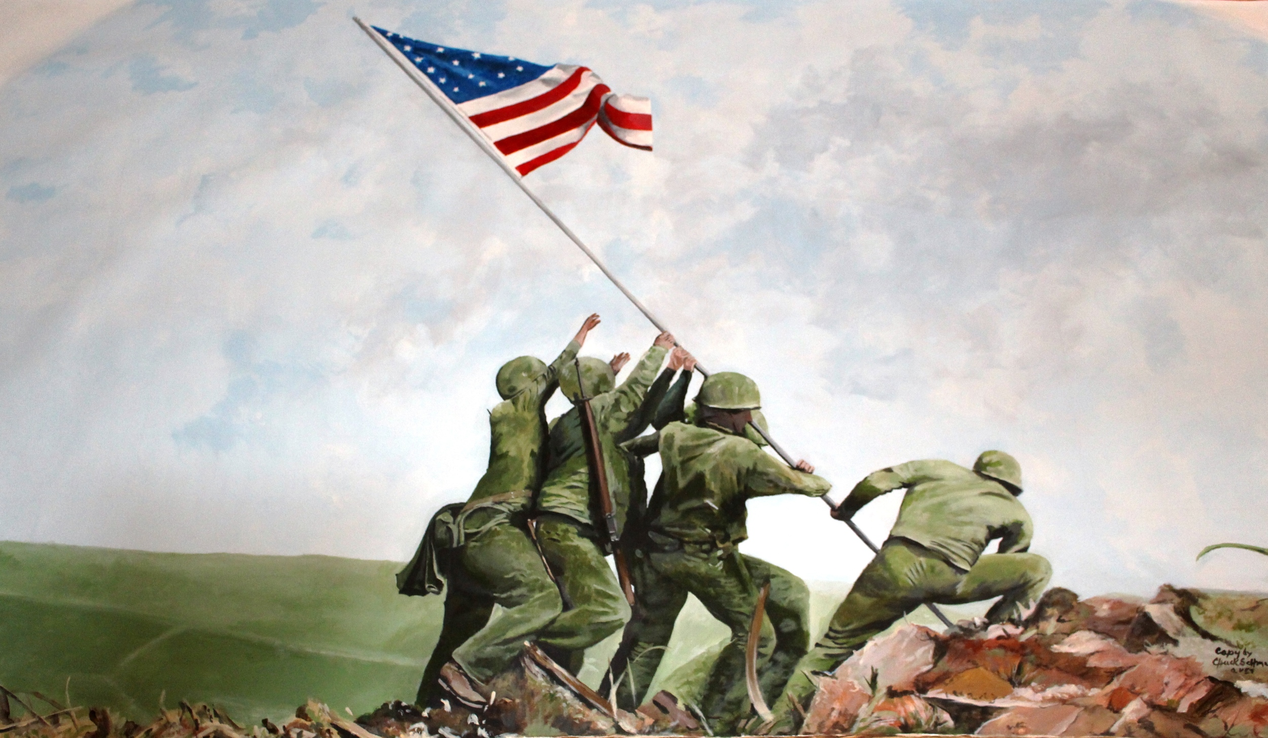 The second flag raising at Iwo Jima