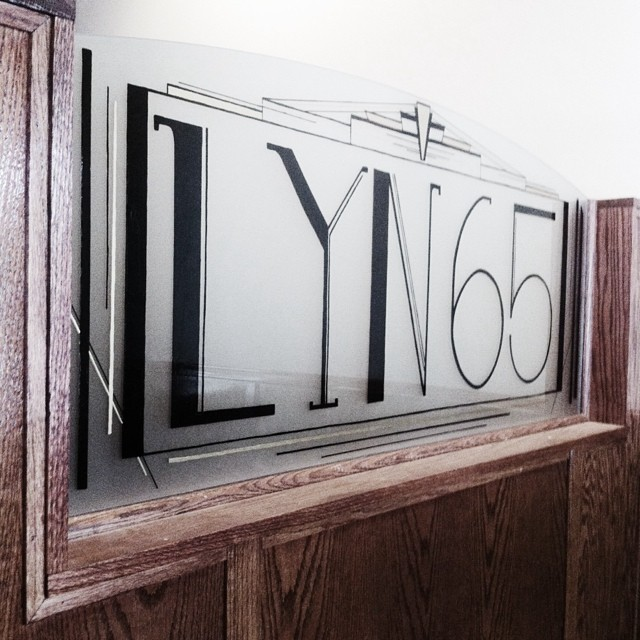 Hand Painted Glass Sign for LYN 65 Kitchen & Bar's Restaurant Entrance | Richfield MN | 2014  http://lyn65.com