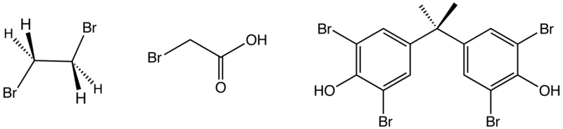 Structure of three industrially significant organobromine compounds. From left: ethylene bromide, bromoacetic acid, and tetrabromobisphenol-A.