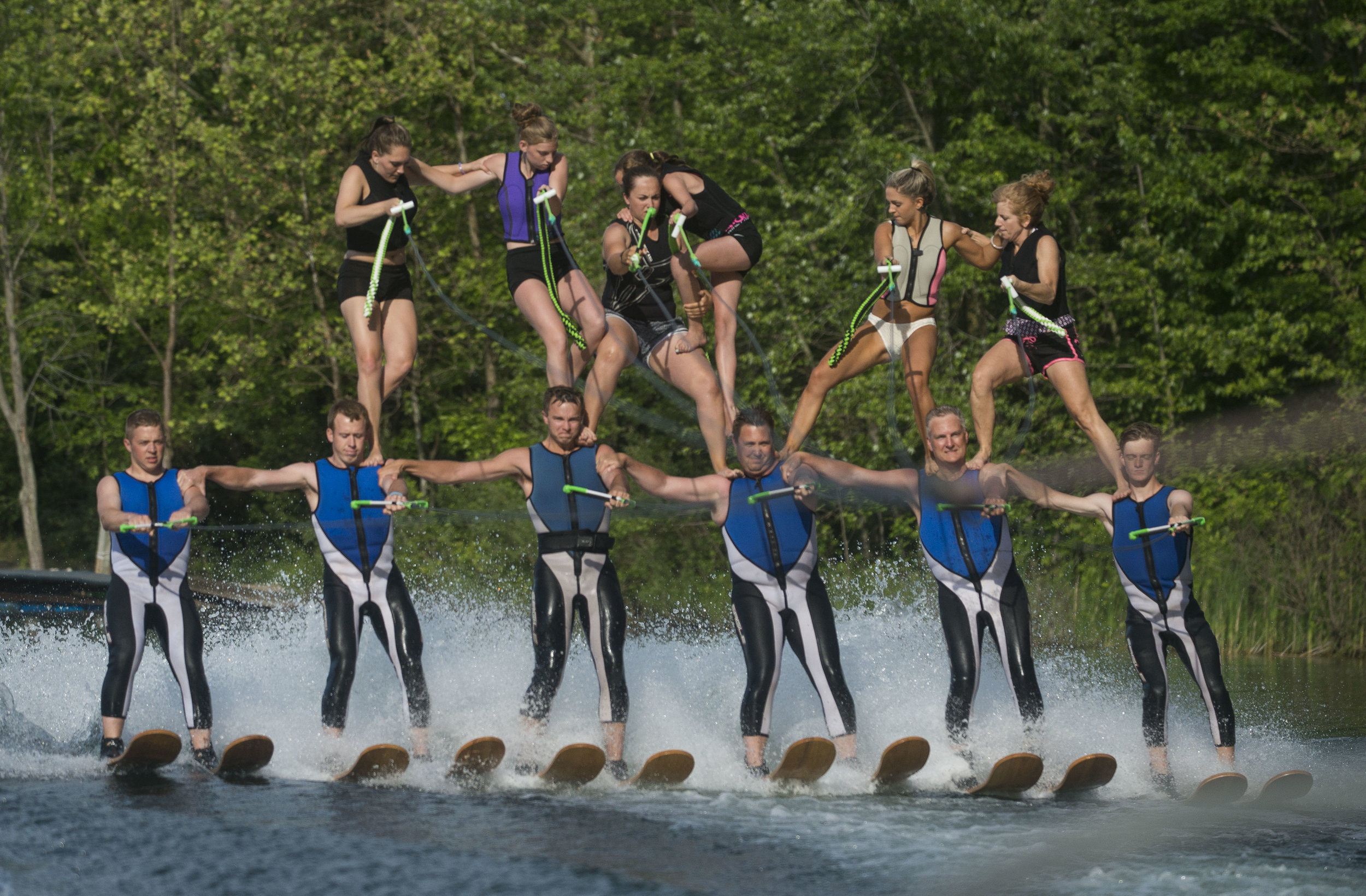 Twelve of the Lake City Skiers practice building their pyramid on June 2, 2016, at Hidden Lake. The team is preparing for their first show on Sunday, June 5, 2016.