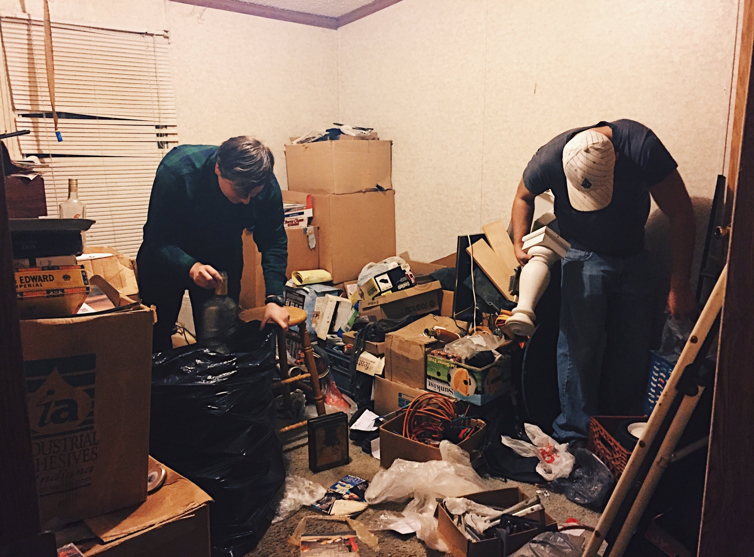 Jan. 4, 2017 — After going through his possessions in the bedroom, my brothers started cleaning my childhood room. He had claimed it as his own for storage, and for his alcohol.  Nearly 10 empty tequila bottles were thrown away as well as a case of beer and any other leftover alcohol. There was another room across the hall waiting to be cleaned.