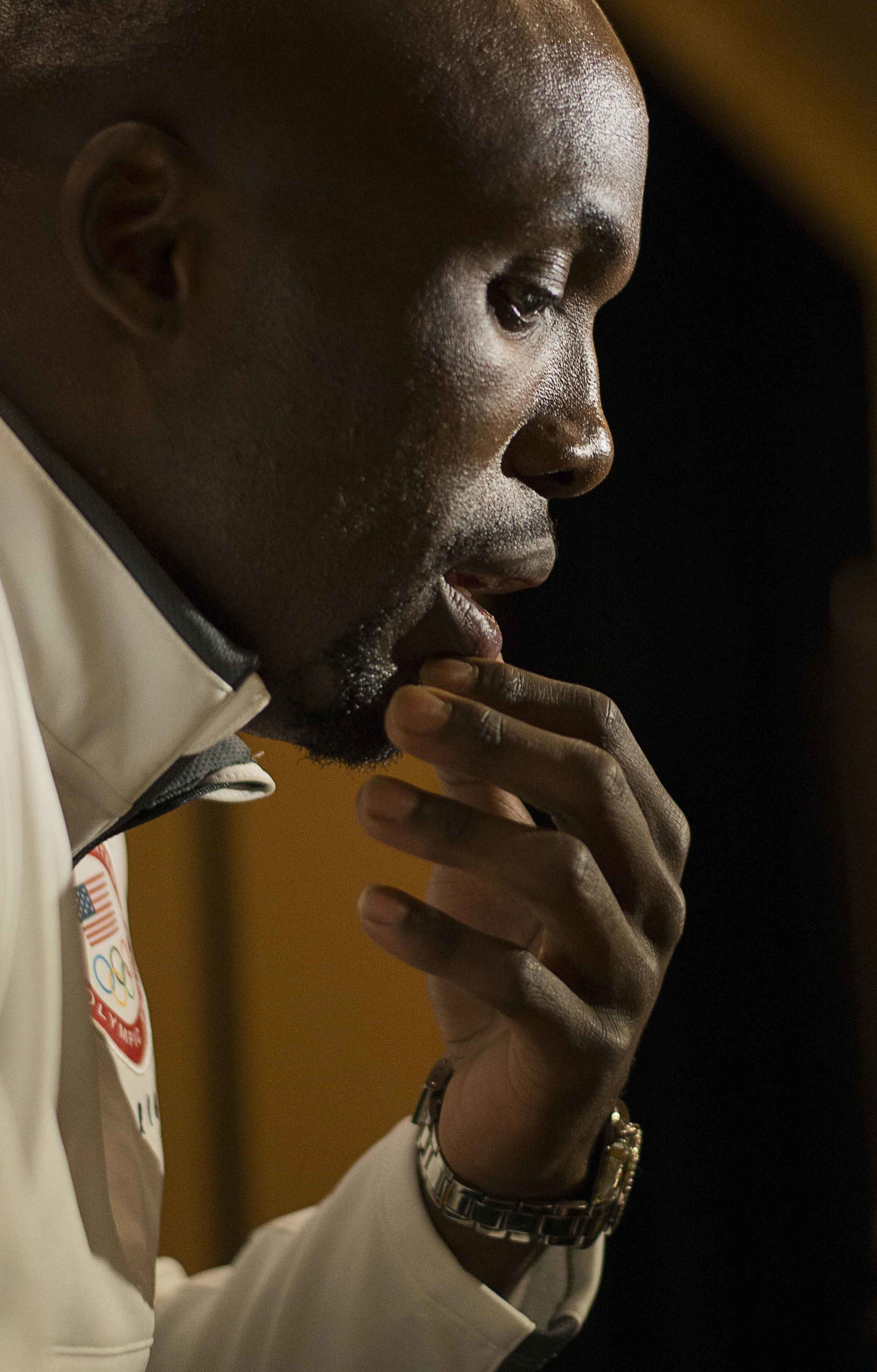 LaShawn Merritt, a track and field gold medalist for 400m in 2008, takes a moment before answering a question by the press at the Team USA Media Summit on March 8, 2016.