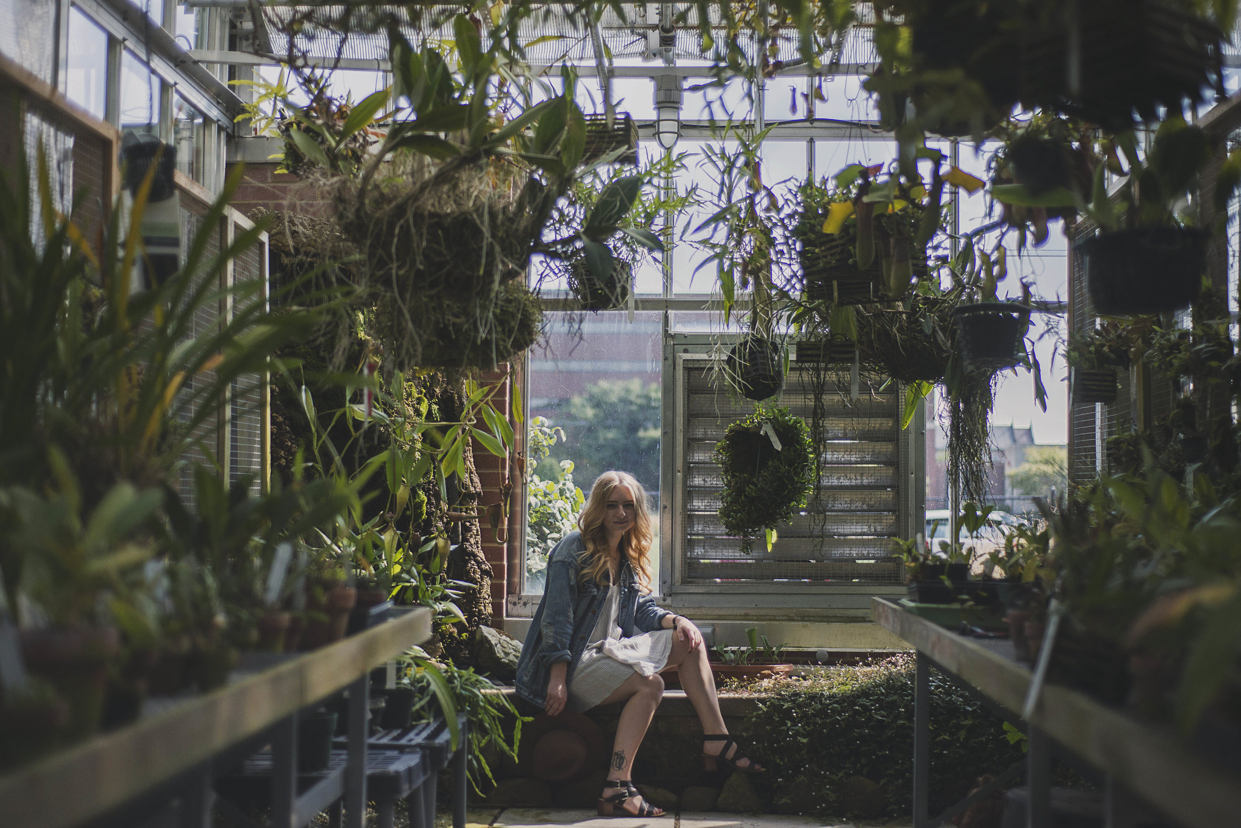 Miller Kern, a senior at Ball State, sits in the cooling room of the Dr. Joe and Alice Rinard Orchid Greenhouse.