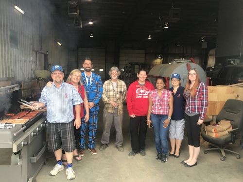 The Western Regional Executive Director for Prostate Cancer Canada, Mark Mahl, joined us for lunch and posted some group photos. His Plaid Suit was the highlight of our Plaid for Dad BBQ.