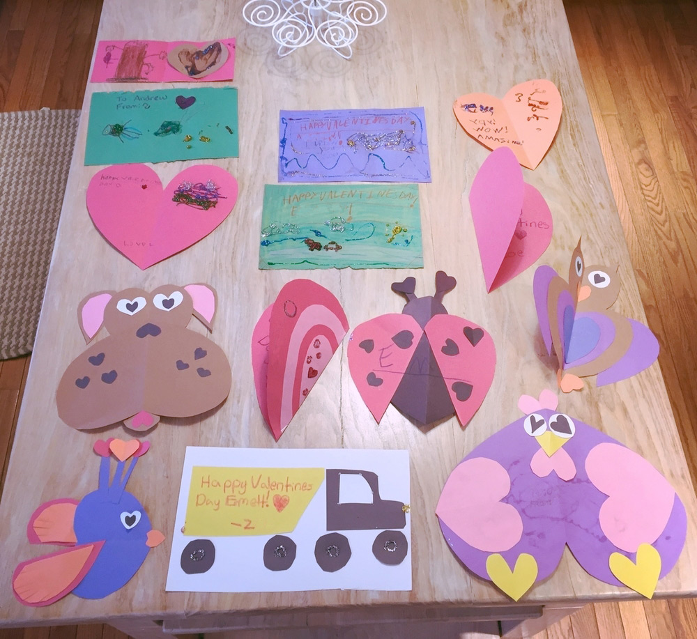 The kids created Valentine's cards for their friends.