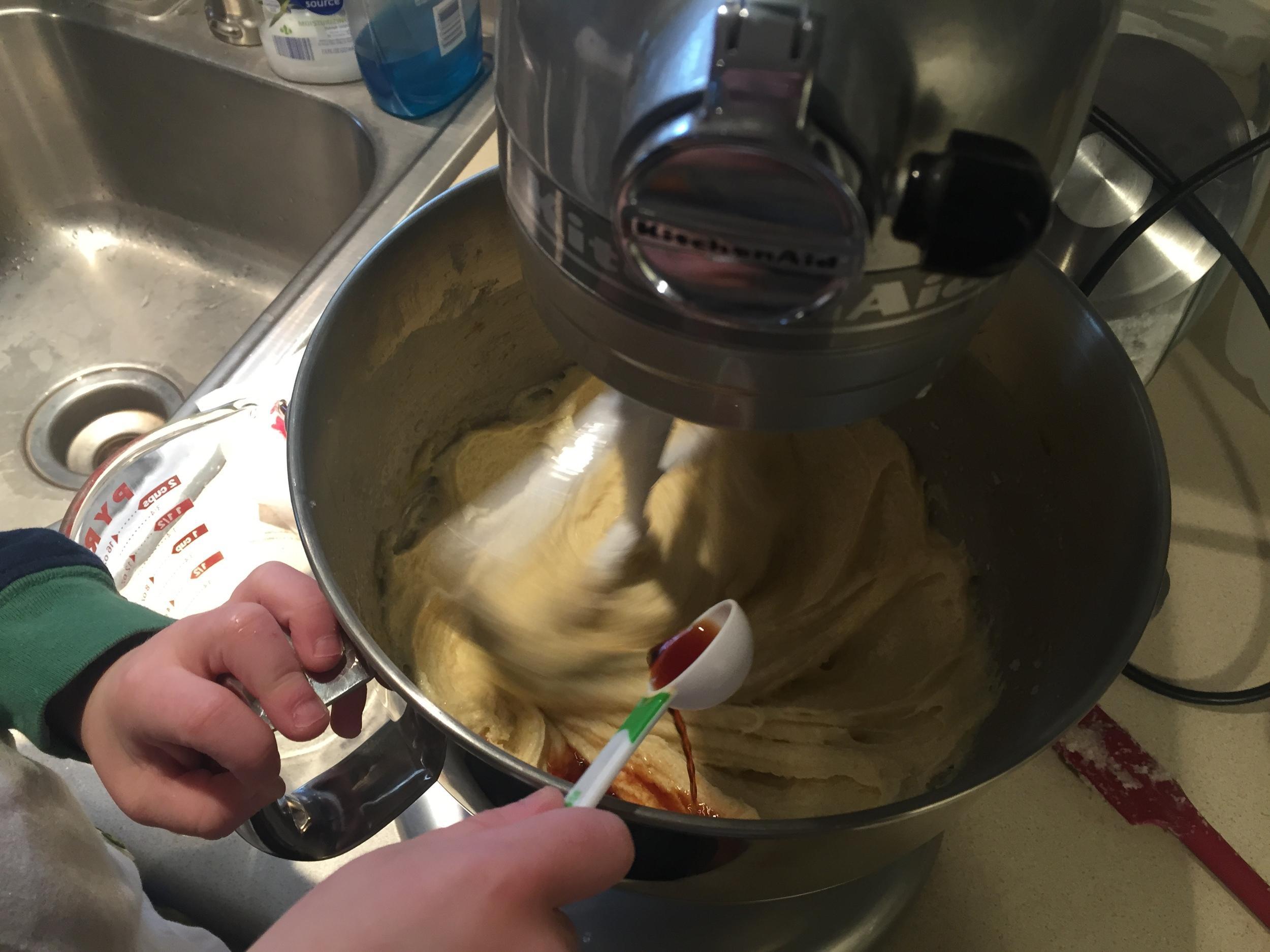 Have a cute little helper add the vanilla.