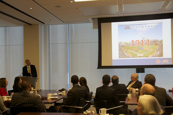 Kevin Saghy, Midtown Center tutor and manager of communications for the Chicago Cubs, gave 80 guests an inside look at the team's plan to celebrate Wrigley Field's 100th birthday at a Breakfast for Champions on April 10.