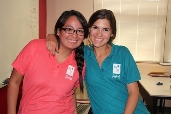 Carolina Avila, Metro alumna and Teaching Assistant with Patti Carro, Instructor   Tellabs Engineering Apprenticeship 2014