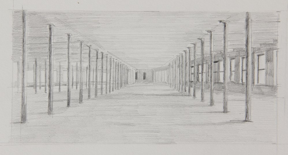 A pencil study of the old mill which, once renovated and expanded, became the new home to MASS MoCA. The second floor, on which Prey's painting is based, is more than an acre in size, with 400 columns and hundreds of windows.