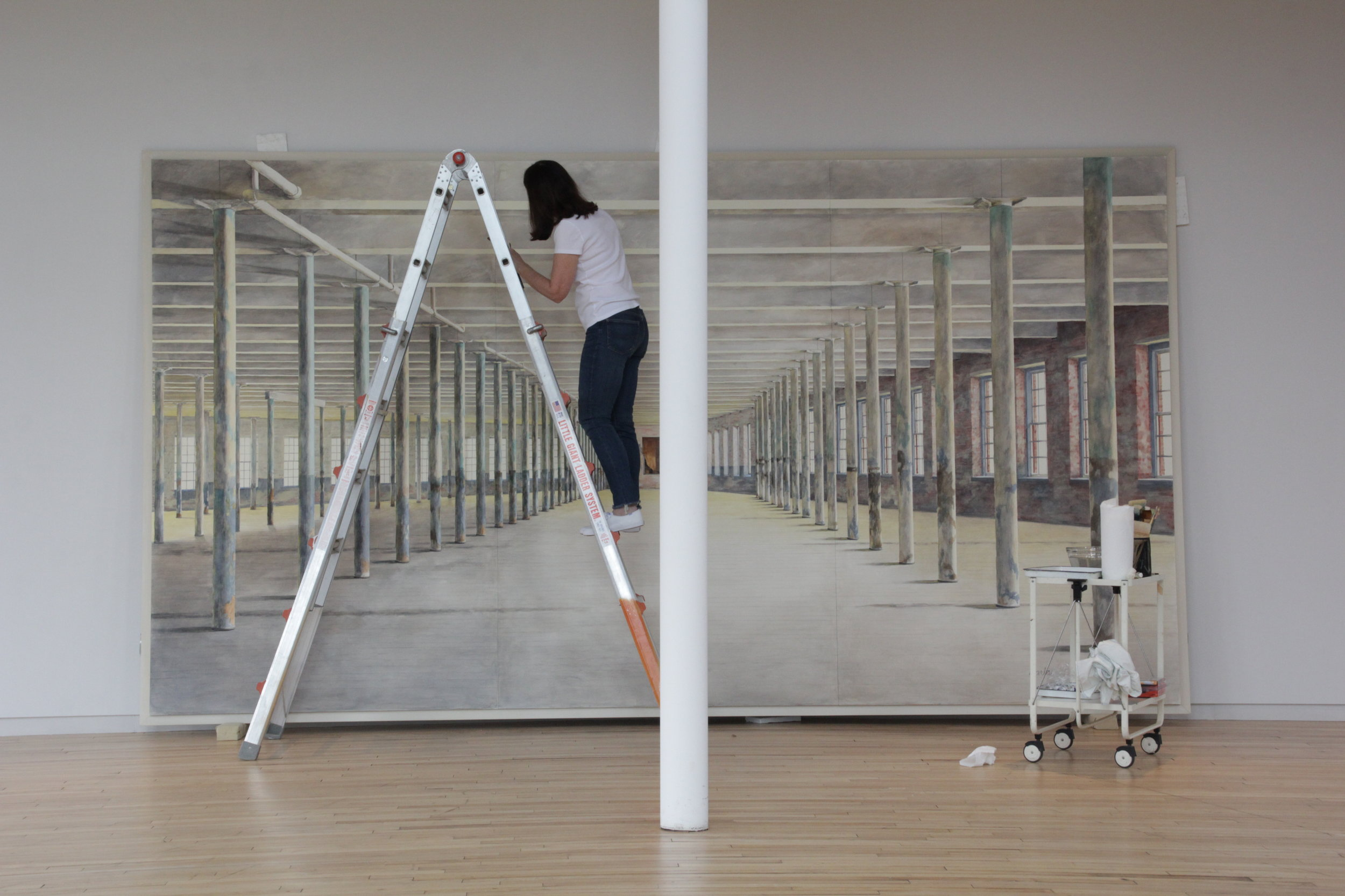 Barbara Prey on Ladder at MASSMoCA.JPG