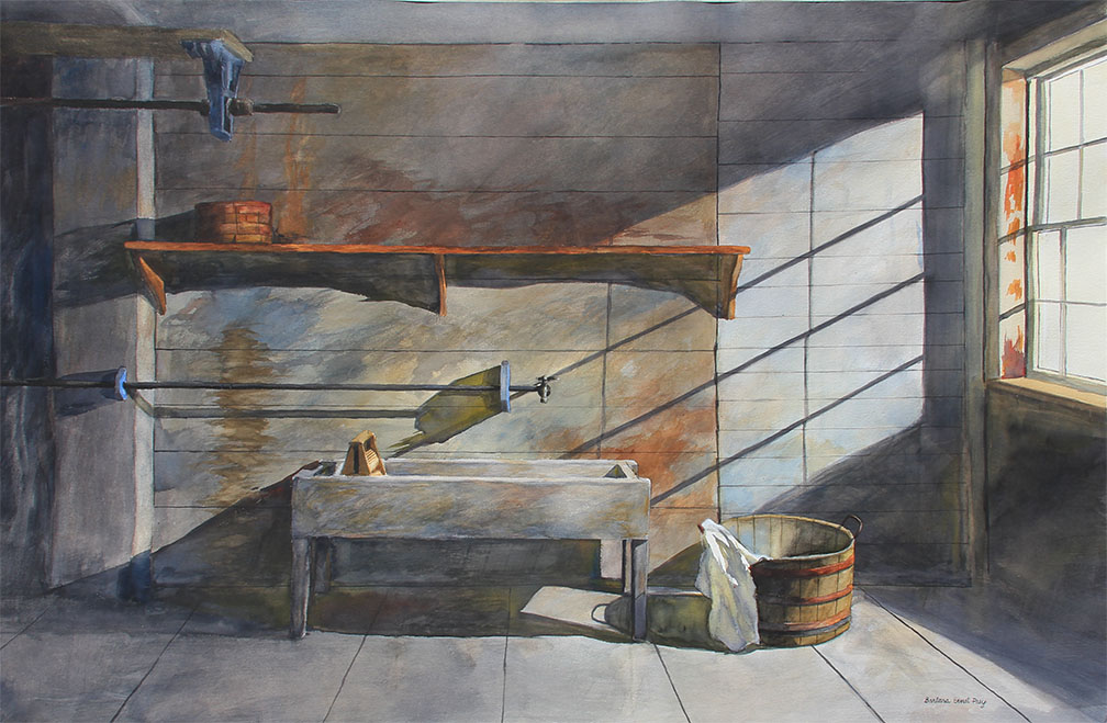 Channelled Light, 2019, Watercolor and drybrush on paper, 40 x 60 inches