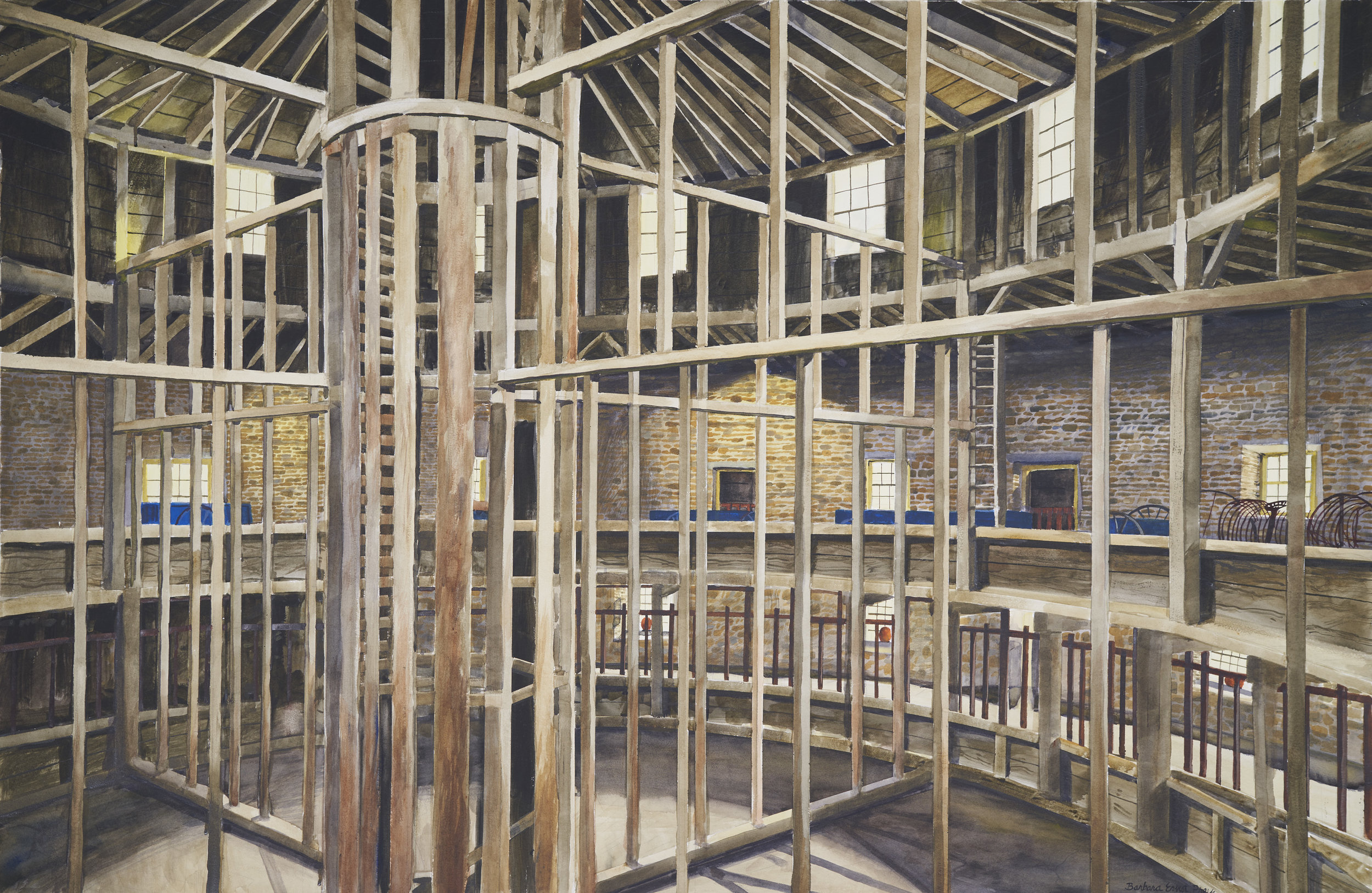 Wood Work, 2019, Watercolor and drybrush on paper, 40 x 60 inches
