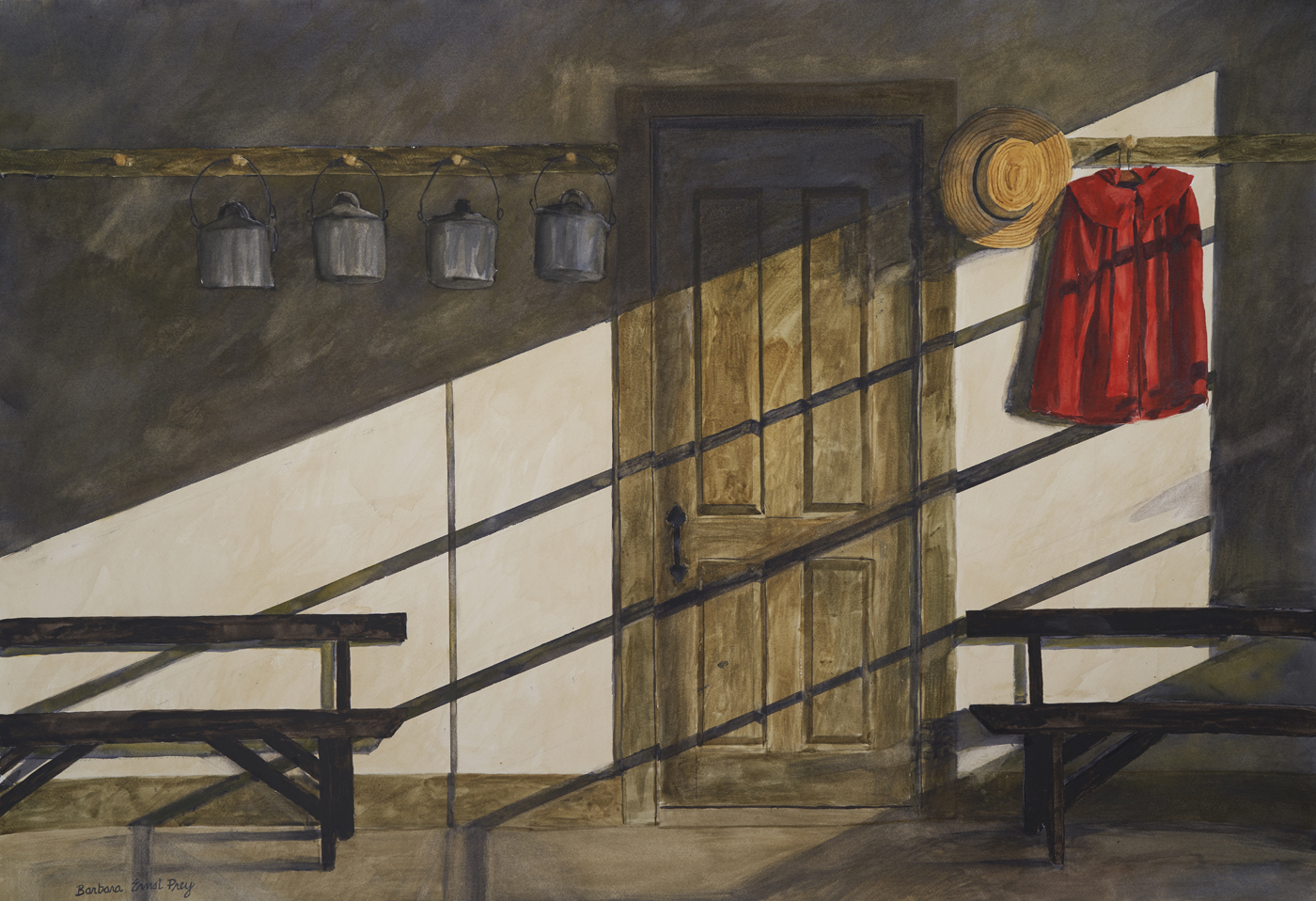School Room Red Coat, 2019, Watercolor and drybrush on paper, 28 x 40 inches