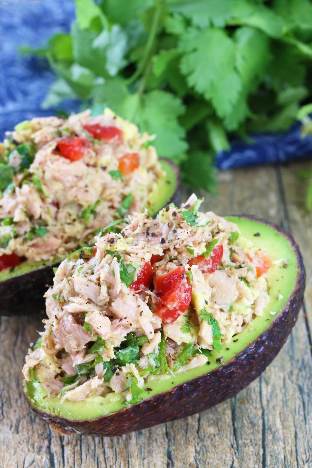 Avocado Stuffed With Tuna Salad by Stayathomechef