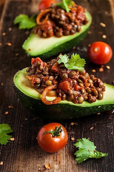 Avocado Stuffed With Smokey Lentils by gourmantine