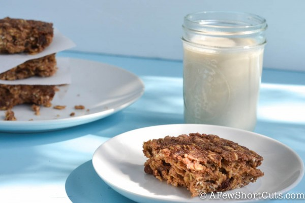 Cinnamon Raisin Baked Oatmeal Squares by Shortcuts