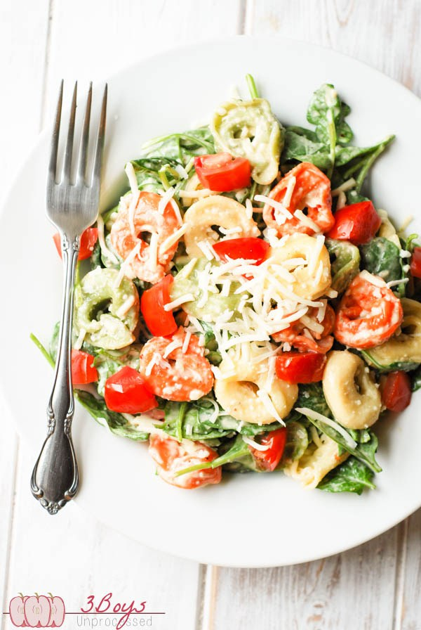 Spinach and Tortellini Salad by 3boysunprocessed